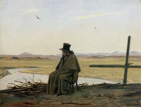 Un viandante nei pressi dell'Acqua Acetosa
