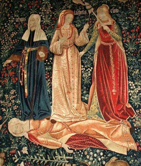 Le Tre Parche, particolare dal Trionfo della Morte, arazzo fiammingo, 1520 ca.